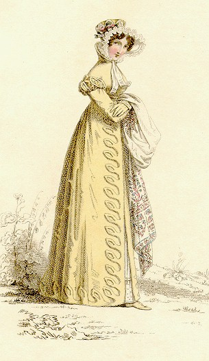 fashion plate yellow dress