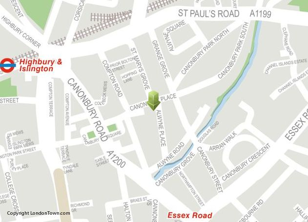 Canonbury on the map: Londontown.com