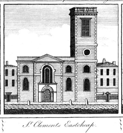 St Clement Eastcheap - Harrison engraving 1777 - wikipedia