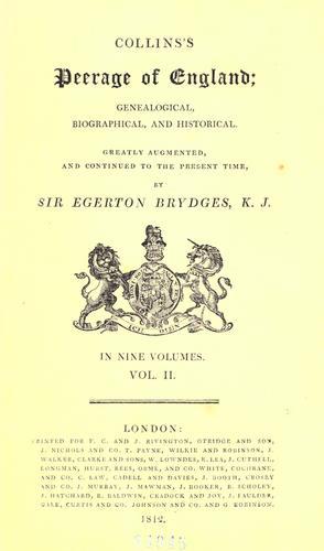 Collins Peerage - 1812 ed.
