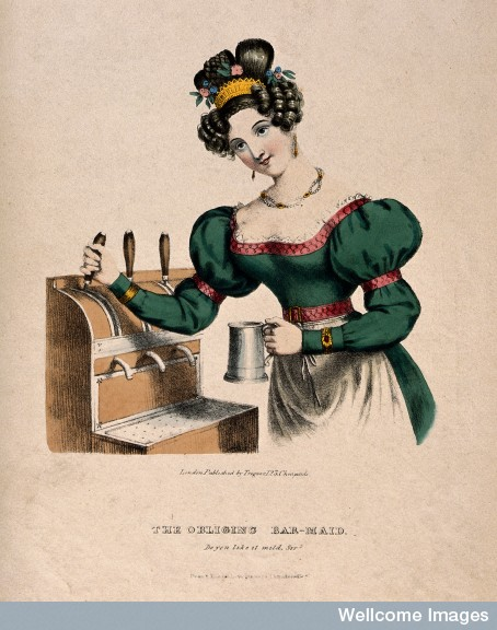 V0019578 A pretty barmaid drawing beer. Coloured lithograph, c. 1825.