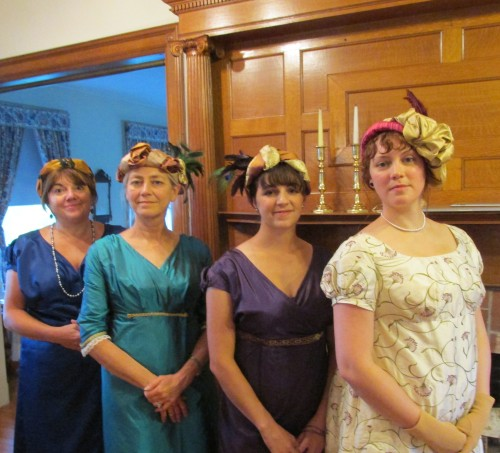 Showing off the Regency style turbans they made that afternoon in Hope Greenberg's workshop